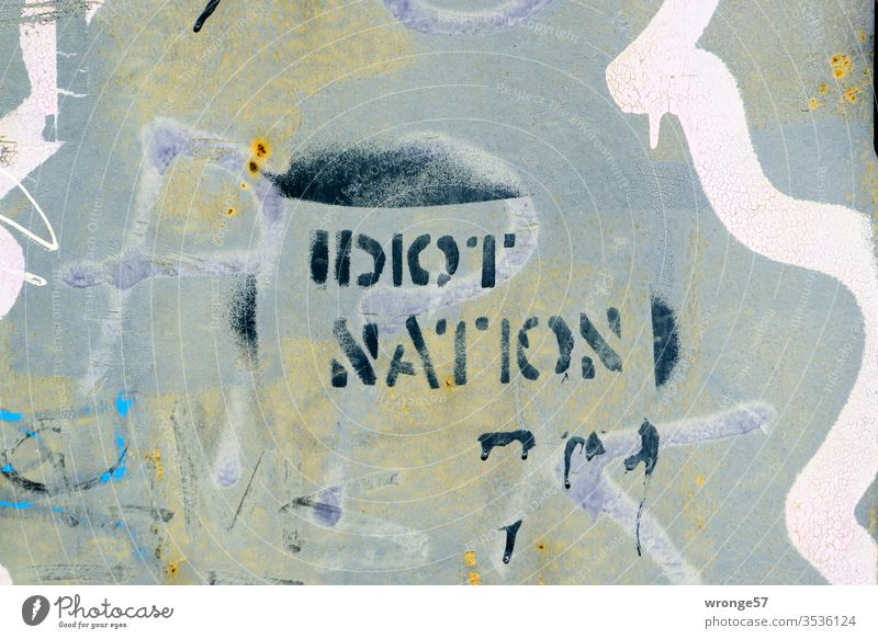 Idiot Nation - Graffito on a house wall II spray Spray Colour Stencil technology Graffiti Wall (building) Colour photo Deserted Day Wall (barrier) Exterior shot