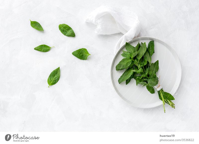 Assortment of fresh aromatic herbs from above on white background food organic green ingredient mint oregano parsley chive rosemary basil estragon leaf plant