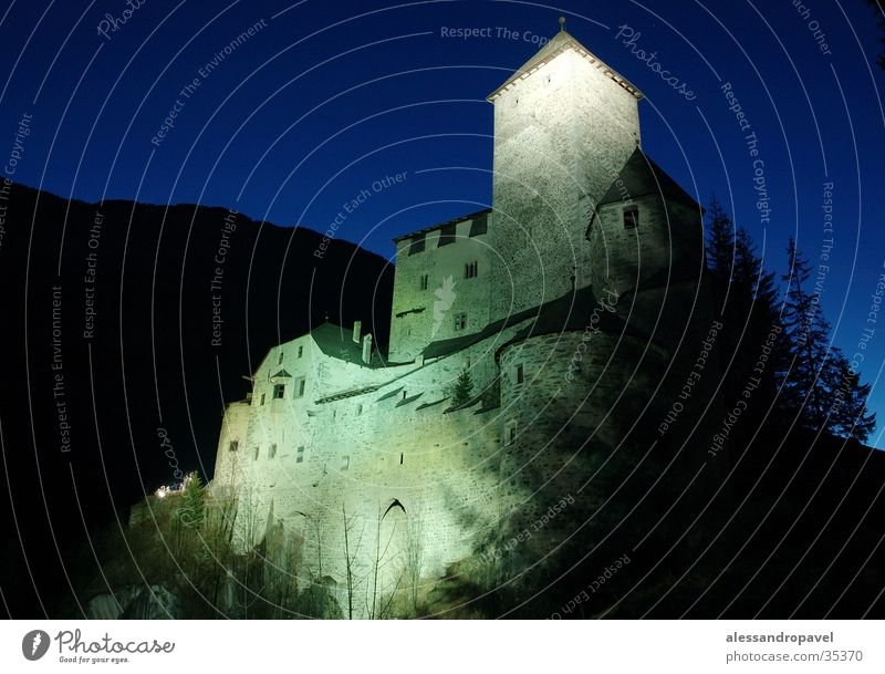Castle Taufers at night Forest Historic long-disc imaging blue sky at night