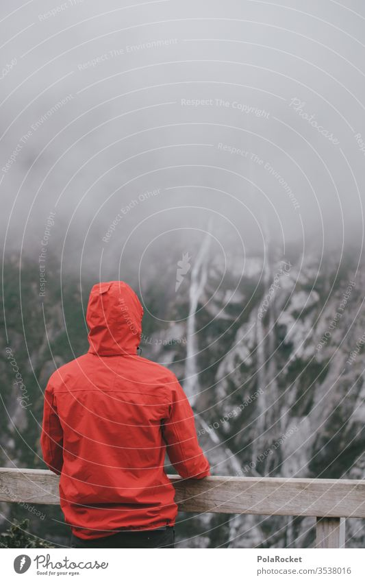#As# Bleak outlook Fog Clouds Bad weather Hiking hike Cloud cover overcast Waterfall New Zealand New Zealand Landscape Red red jacket Eye-catcher Rain jacket