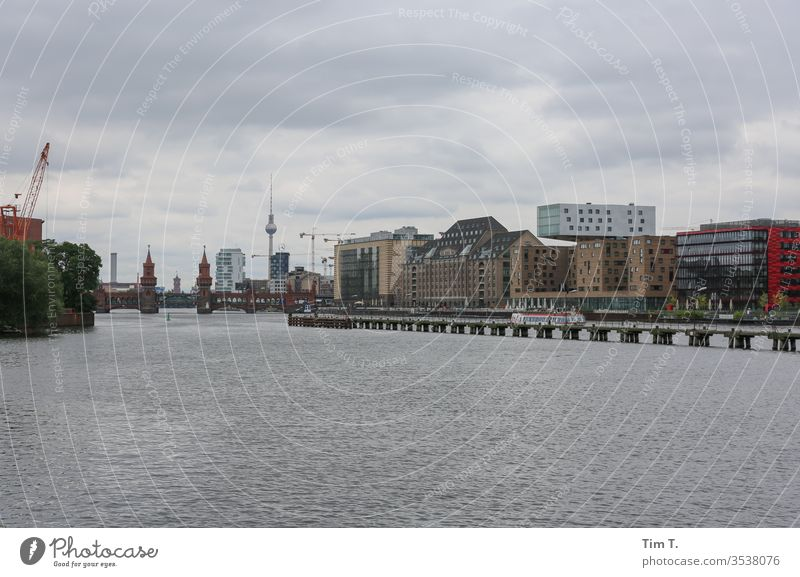 Berlin Spree river Capital city Architecture Germany Deserted Landmark tv tower Television tower Treptow Border area Oberbaumbrücke River Town Skyline