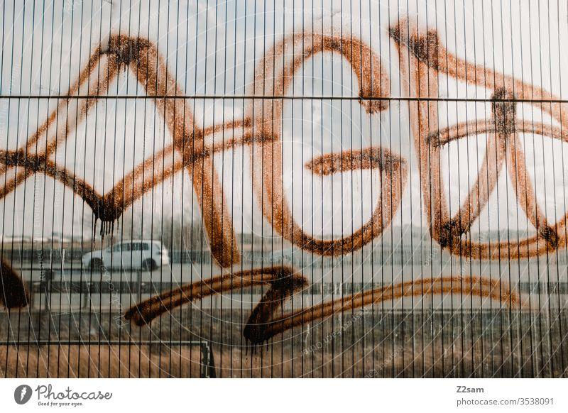 Graffiti Tag Tagging (graffiti) writing Smeared Remark property Material out Metal Pole Vandalism Keyword Wall (building) Tagger Word Spray no No