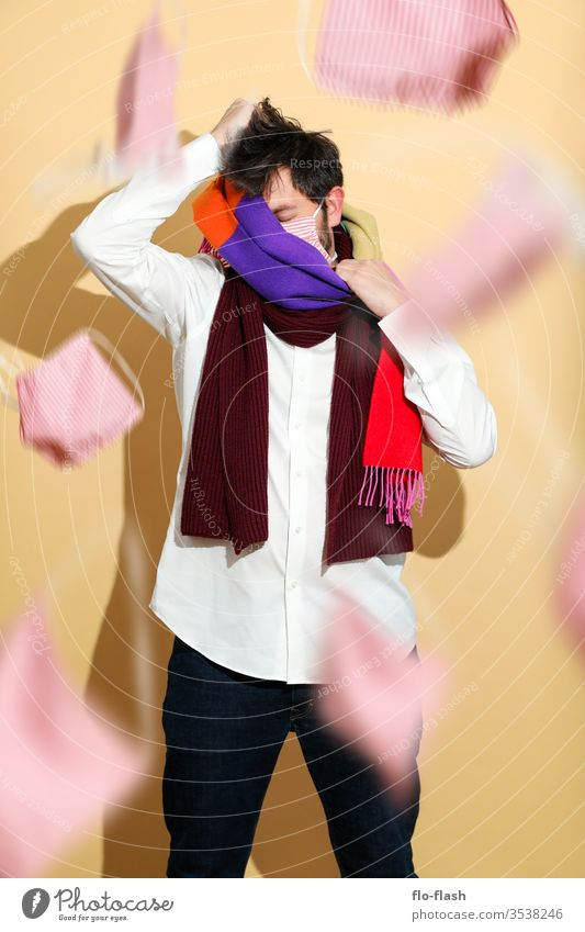 A guy with a mask and scarf Lifestyle Shopping Style Design already Face Allergy Professional training Apprentice Academic studies deal Media industry Success
