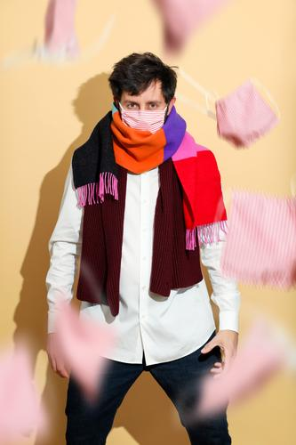A brave guy in a mask and scarf Lifestyle Shopping Style Design already Face Allergy Professional training Apprentice Academic studies deal Media industry