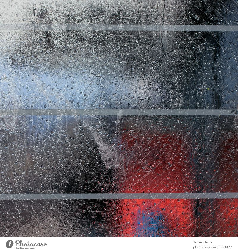 wet. Public transit Window pane Line Stripe Drops of water Rainwater Patch Shelter Glass Looking Dark Simple Wet Blue Gray Red Black Emotions Colour photo