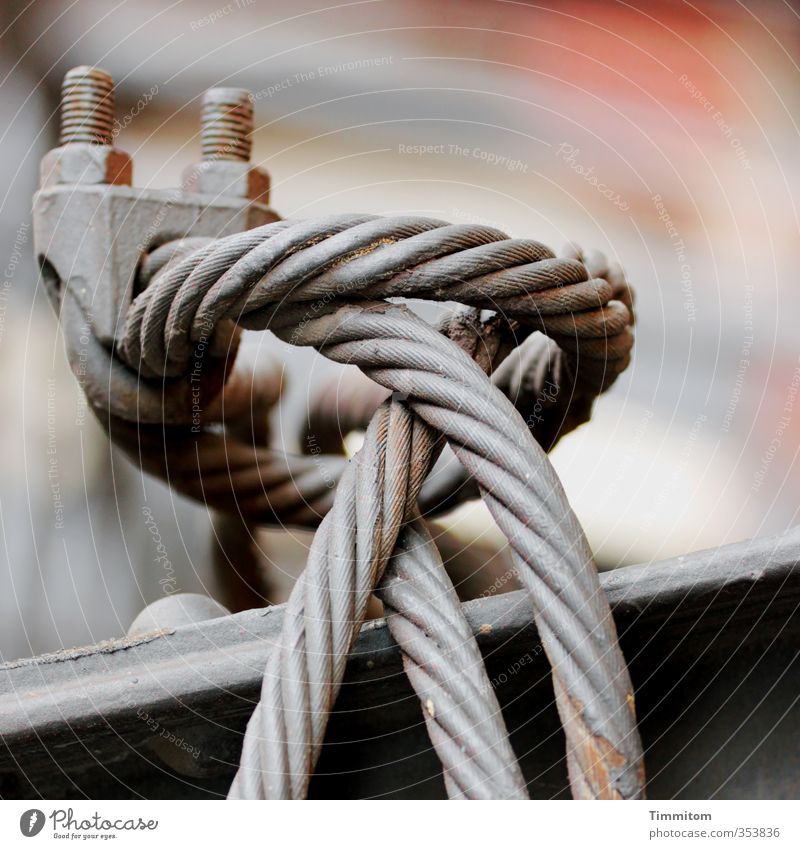 Construction material / tension. Metal Esthetic Firm Gray Material Wire cable Clamp Screw thread metal carrier Colour photo Interior shot Deserted Day