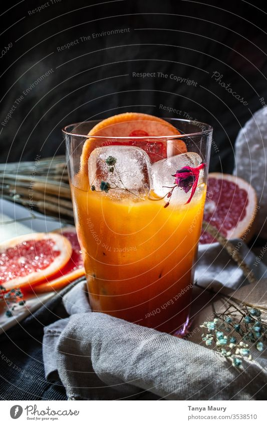 Fresh glass of grapefruit juice Citrus fruits orange juice freshly picked Vitamin C Juicy Orange juice blood orange Vegan diet Beverage Juice Summer