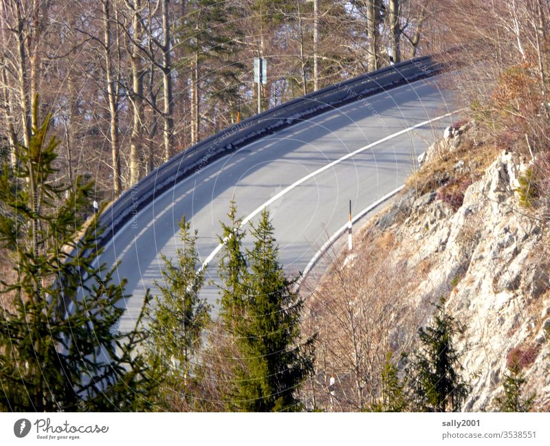 clear the way... Street mountain road Curve Traffic lane Asphalt Road marking Alps pass road Winter Forest huts Traffic route Transport paths and paths Free