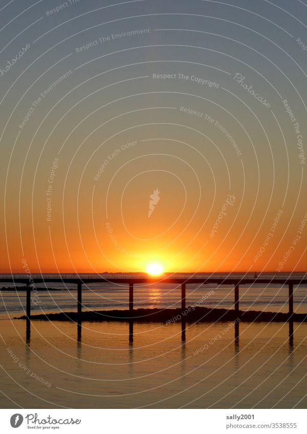 Sunrise in Brittany... Sunset romantic Romance bridge France English Channel Ocean Orange Red Sky Sunlight Morning Evening Twilight clear Nature Horizon Coast