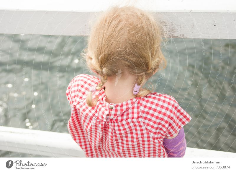 Looking for Poseidon Vacation & Travel Summer vacation Human being Child Girl Infancy Life Head 1 3 - 8 years Water Waves Baltic Sea Ocean Hair and hairstyles