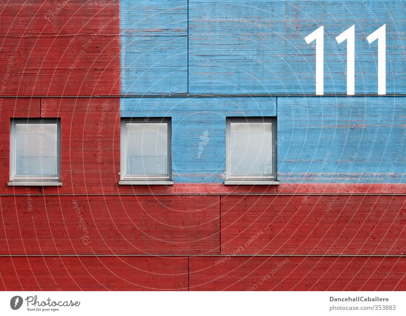 graphic l [] [] [] 111 Building Architecture Wall (barrier) Wall (building) Facade Window Wood Glass Digits and numbers Esthetic Sharp-edged Blue Red Symmetry