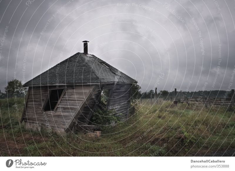 Old Clouds House (Residential Structure) Dark Cold Meadow Garden Exceptional Field Wind Dangerous Broken Tilt Historic Village Hut