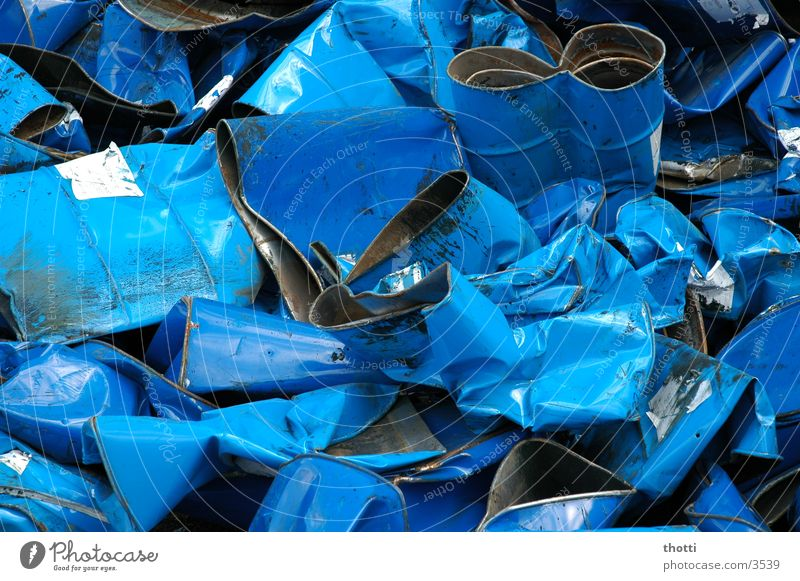 Old Blue Metal Industry Trash Keg Scrap metal