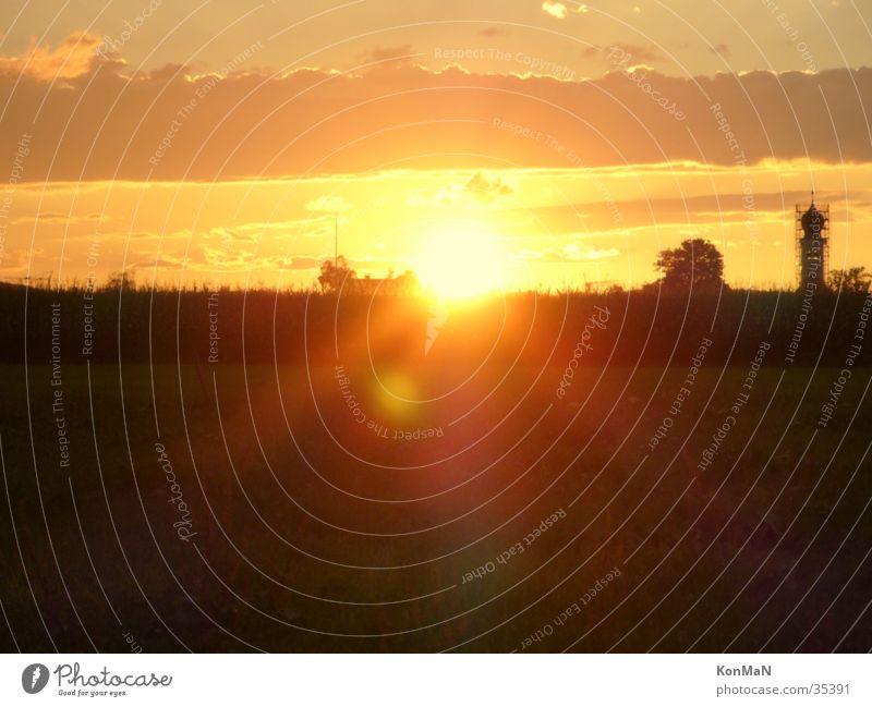 sunset in bavaria Light Moody Dark Sun Shadow Evening Bright dazzled Sunset