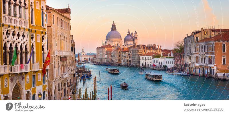 Grand Canal in Venice, Italy. venice italy travel canal Santa Maria della Salute place grand famous european gondola basilica sunset arhitecture cruise italian