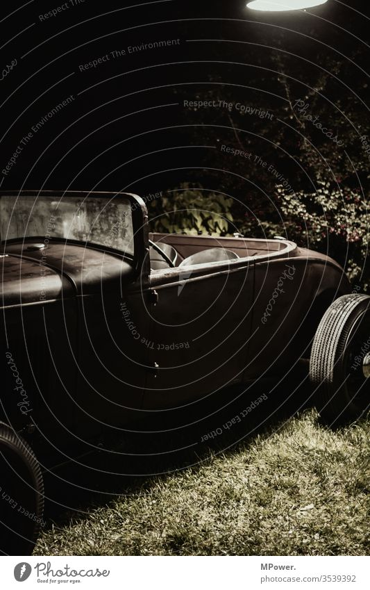 hotrod car Old vintage Convertible Night Transport Parking classic Vintage car Car Exterior shot Vehicle Driving