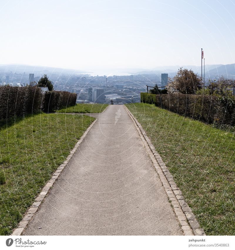 View along a footpath to Zurich, in the haze disappears the Zürichsee off at I'm allotment garden Central perspective Waidberg Switzerland Exterior shot