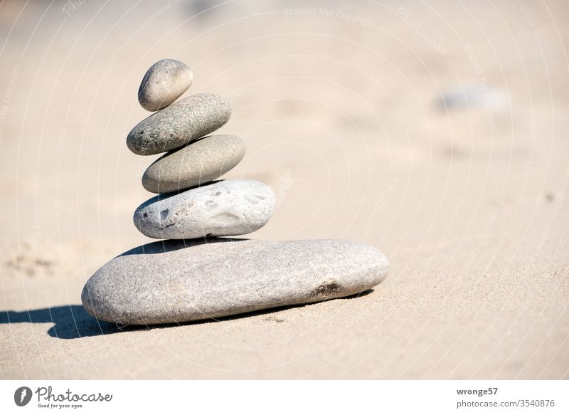 Stone towers on the Baltic Sea beach stones Stone Tower Nature Deserted Beach Coast Exterior shot Summer Colour photo Sandy beach Day Vacation & Travel Pebble