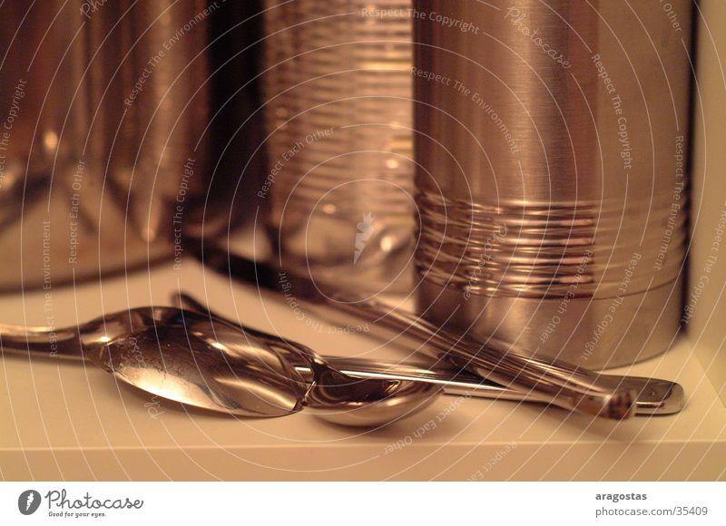 metal Glittering Spoon Pot Jug Kitchen Metal Knives
