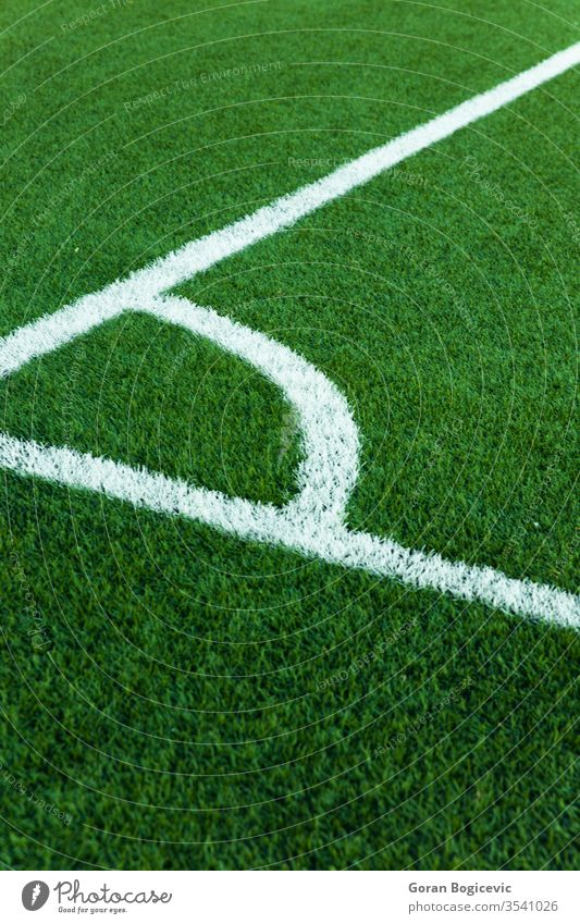 Football field corner with white marks angle area background border closeup competition football game grass green lawn line marking match outdoor outdoors