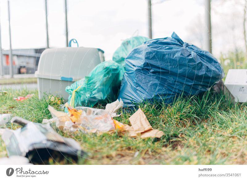 wild garbage deposit on the street bike waste Waste management Environment Dirty Throw away inconsiderateness throwaway society Environmental Destruction