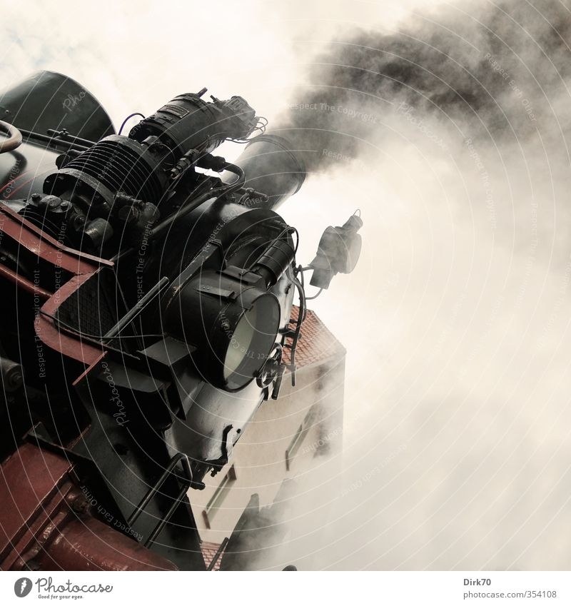 steam power Vehicle Rail transport Train travel Railroad Engines Steamlocomotive Passenger train Metal Driving Smoking Authentic Threat Dark Historic Strong