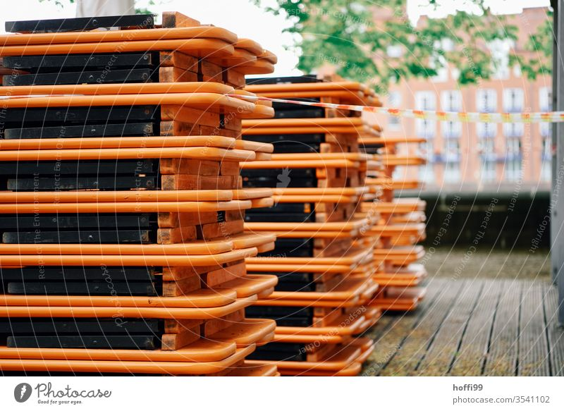 Stacked beer tent sets on an outdoor terrace covid-19 lockdown curfew restriction Beer tent set Autumn stacked beer garden season beer garden set Beer garden
