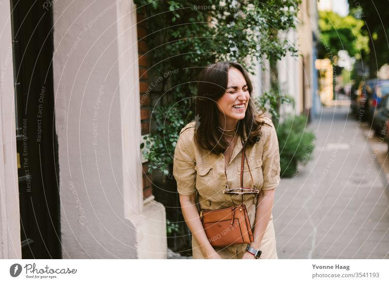 Laughing woman in Paris Woman Downtown Town Summer fortunate happy face cheerful Laughter laughing urban Charming Period apartment Old building