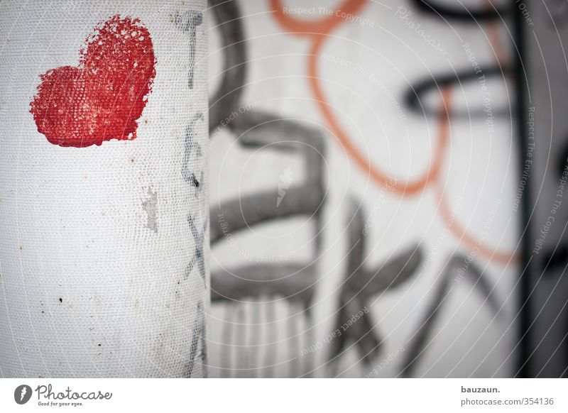 superficially. Valentine's Day Graffiti Heart Trashy Red Black White Chaos Disaster Emotions Love Love affair Irritation Distress Change Colour photo