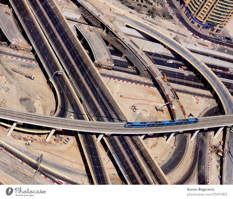 Dubai aerial arab architecture buildings city cityscape construction dubai east emirates highway intersection middle modern road sheikh uae united urban view