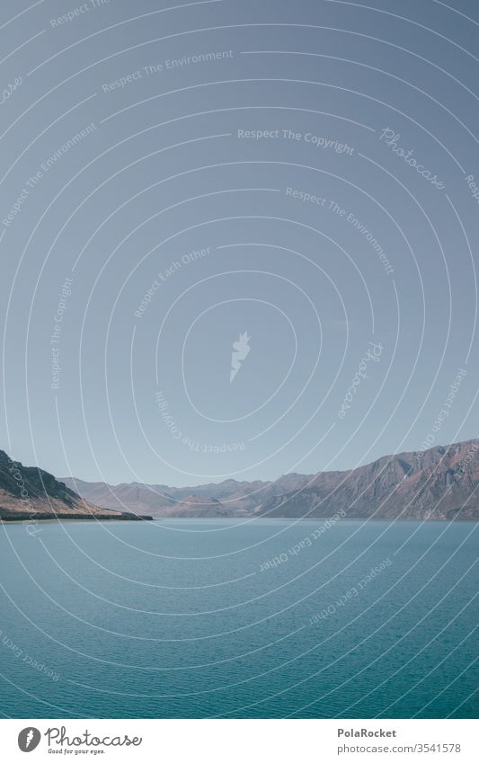 #As# New Zealand 2D New Zealand Landscape Lake Lakeside mountain lake Sea coast Sea bridge Water Surface of water Blue Idyll graphically Exterior shot Mountain