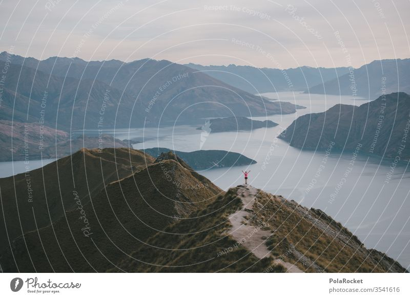 #AS# Freedom New Zealand Roy's Peak New Zealand Landscape explore Hiking hike Mountain range explorer Lakeside mountain lake Red wide Sky Nature Exterior shot