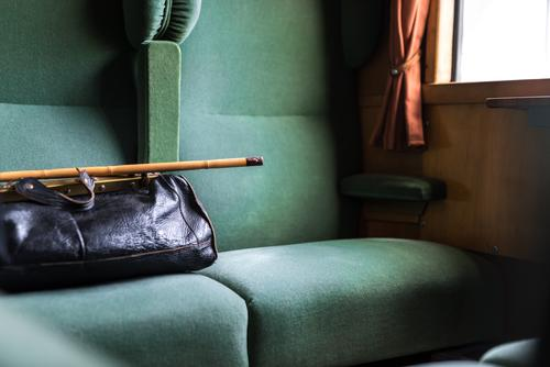The seat next to the black bag and the walking stick is still free antique baggage board cabin comfortable compartment design empty first class furniture green