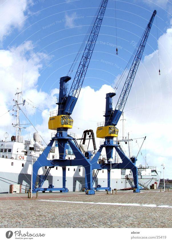 cranes Crane Rostock city harbour Stubnitz