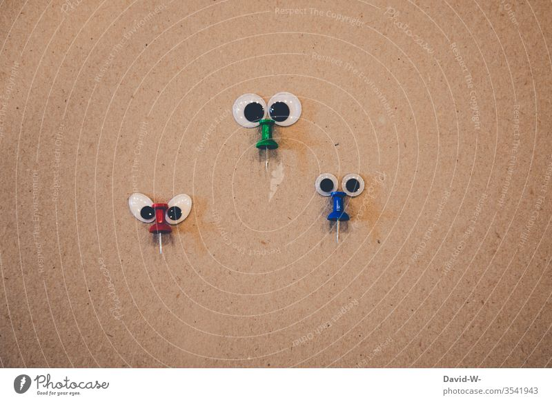 the three noses saucer-eyed Funny Creativity creatively wittily Idea Observe pinboard needle Face look at observation monitoring Cute Nature faces