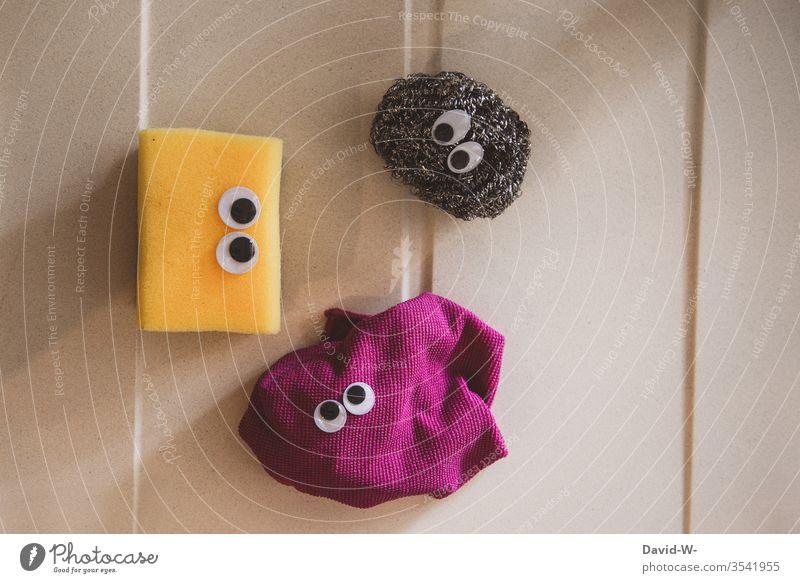 The kitchen trio - sponge rag and pot scourer Sponge kitchen sponge peer saucer-eyed wittily creatures Life Funny Idea Creativity creatively Bacterium faces