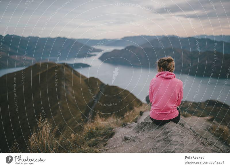 #As# Outlook outlook enjoying the view Wanderlust farsighted farsightedness Mountain Peak New Zealand New Zealand Landscape Roy's Peak Wanaka Sit Woman