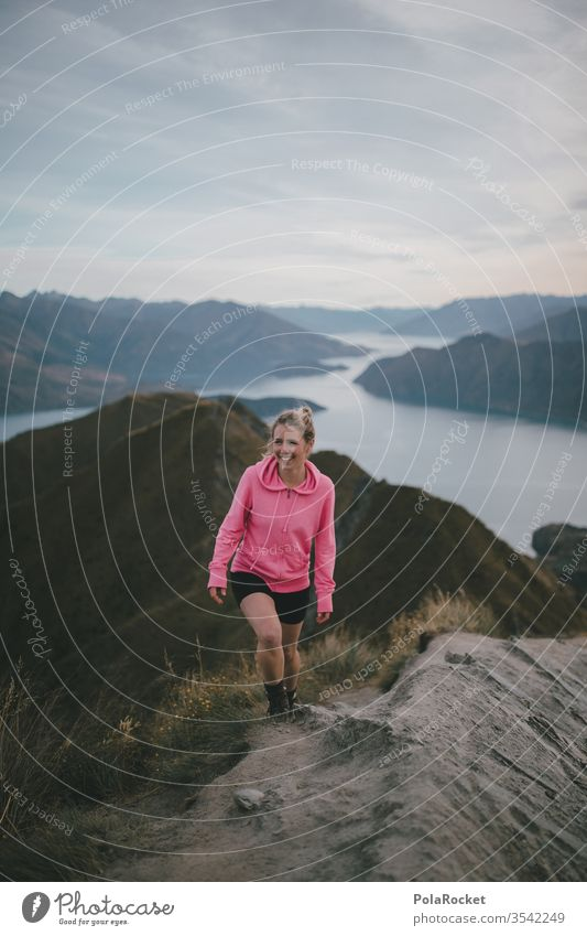 #As# at the top Pink wanderlust hike Class outing outlook Hiking hikers enjoying the view Wanderlust Mountain Peak farsighted farsightedness New Zealand