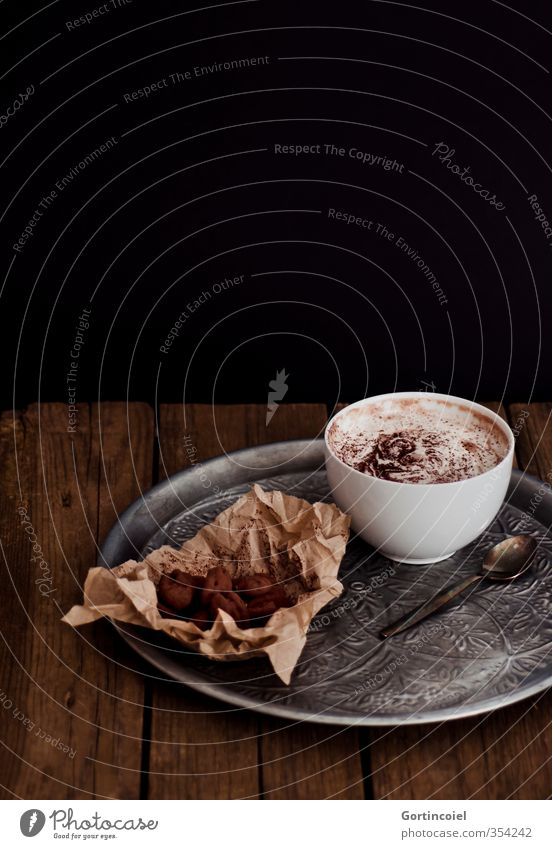 Chocolate Food Candy Nutrition To have a coffee Beverage Hot drink Hot Chocolate Bowl Delicious Sweet Brown Black Chocolate brown Tray Wooden table
