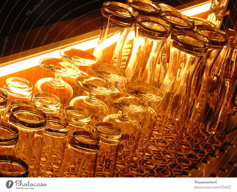 Glasses at the bar Night Bar Counter Alcoholic drinks Foyer