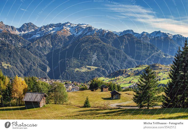 Alpine landscape Austria Alps alpine landscape Serfauss Fiss Ladis mountains valleys Huts meadows fields huts Landscape Nature Sky Clouds Sun sunshine ways