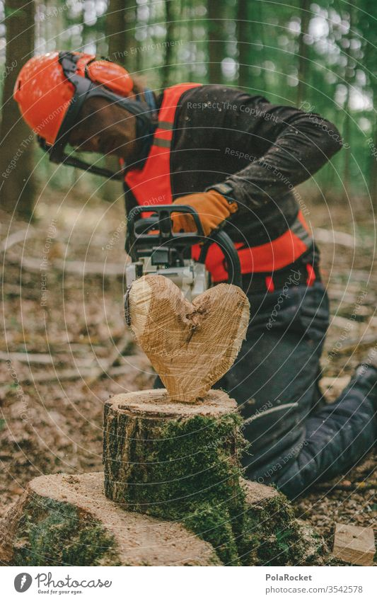 #S# Woodsman with a heart Lumberjack wood Firewood Chainsaw Protective equipment Helmet Meter beeches Wood work Nature tree Woodcutter Forestry Tree trunk