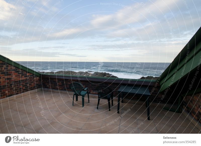 Weekend at the sea Vacation & Travel Tourism Living or residing Flat (apartment) Chair Table Balcony Environment Nature Landscape Sky Clouds Horizon Waves Coast