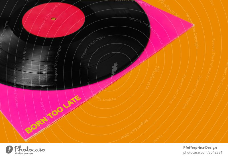 LP with cover on orange background Record born to late Music vinyl