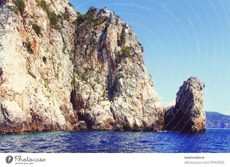 Rock from the sea near at Cape Palinuro sky blue from sea Campania Cilento Cliff Coast Coastline italy Europe Landscape Mediterranean Nature Outdoors Scenic
