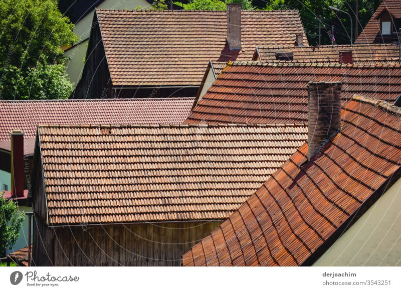 Roof to roof. Small Franconian village. Very close, house to house. roofs Colour photo Exterior shot Deserted Architecture Building