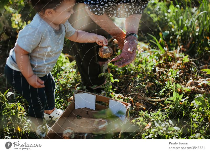 Child and grandmother gardening Grandmother Human being Grandchildren Family & Relations Onion Gardening Organic produce Generation Happy Authentic Nature Woman