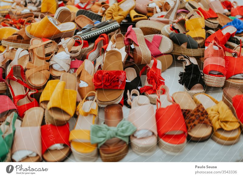 Colorful woman shoes for sale Woman Sale Markets Market stall Shopping Colour photo Exterior shot Retail sector Consumption background Fashion colorful Design