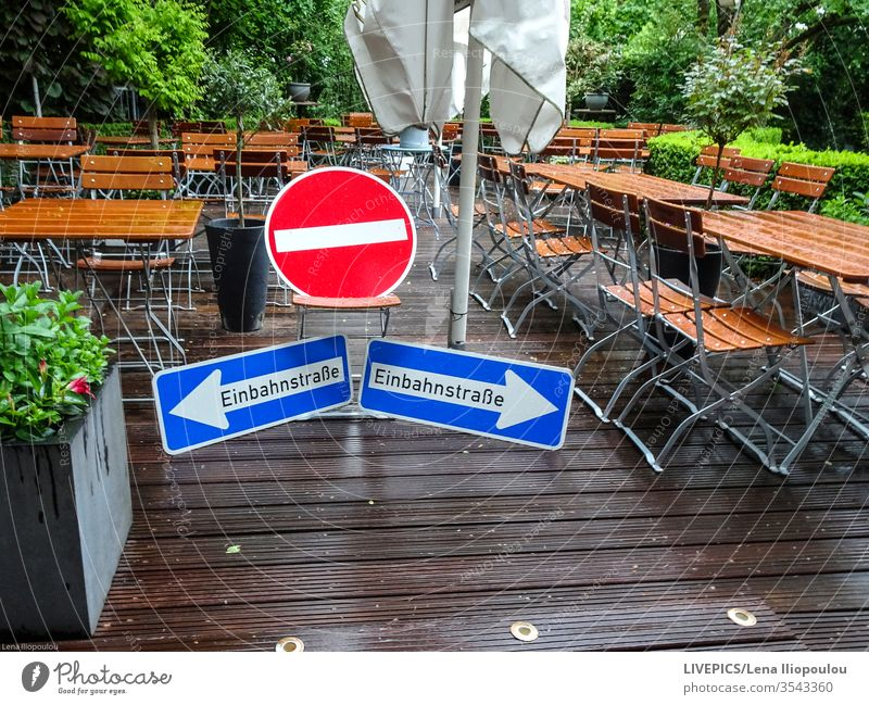 Prohibitions and regulations during the period of the corona virus COVID covid-19 interdiction Beer garden Corona Garden Gastronomy disposable proscribe