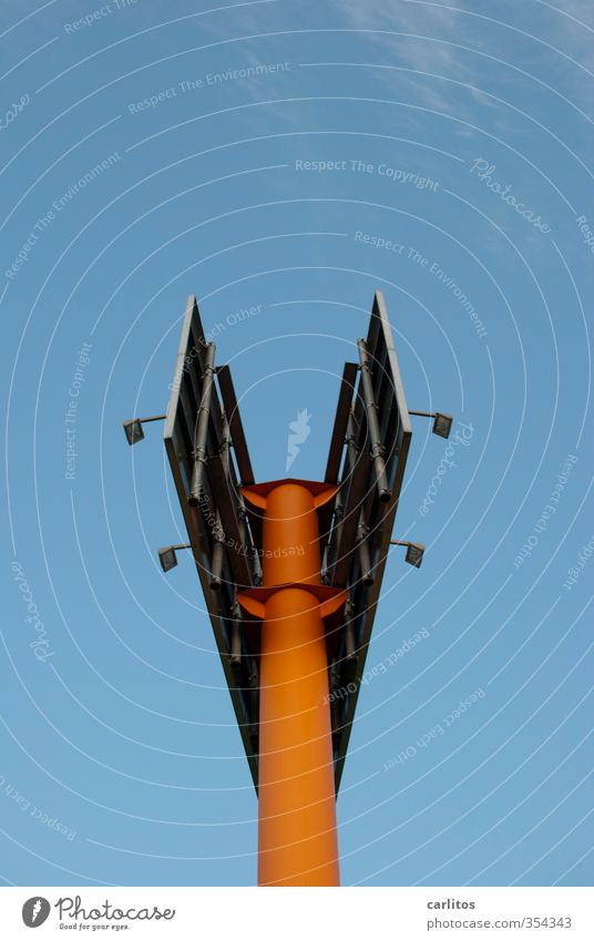 Christmas angel Cloudless sky Stand Flagpole Pylon Advertising Billboard Floodlight Orange Blue Worm's-eye view Christmas Angel Abstract Colour photo